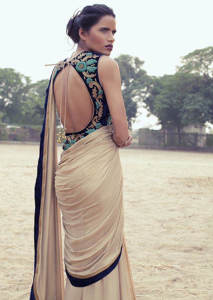 Embroidered long sleeveless saree blouse