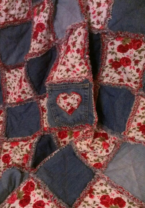 Blue Jean and red rose rag quilt.