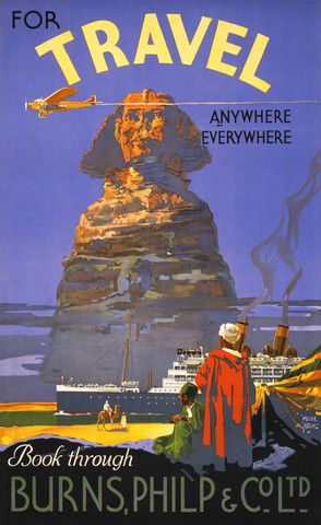 For Travel Anywhere, Everywhere. Vintage travel poster. #vintage #travel #egypy