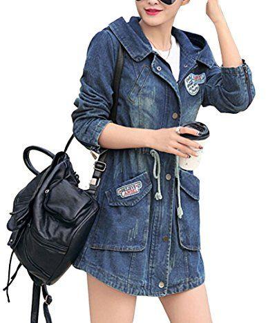 Brinny Damen Lady Jeansstoff Trenchcoat Jeansjacke Kapuzen Kapuzejacke Mantel Hoodie Hooded Outerwear Jean Jacket Jacke: Amazon.de: Bekleidung