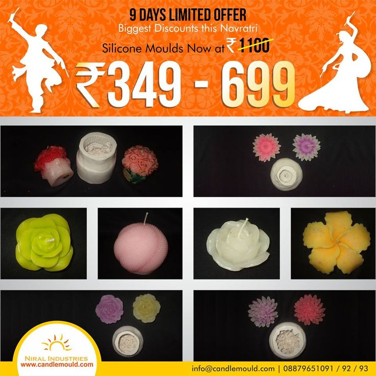Grab the best deals online !!!!!!  Visit Us: www.candlemould.com  #Niralindustries #celebrations #Discounts #products #NavratriOffer #SiliconeMoulds #Moulds #BuyNow #Hurry