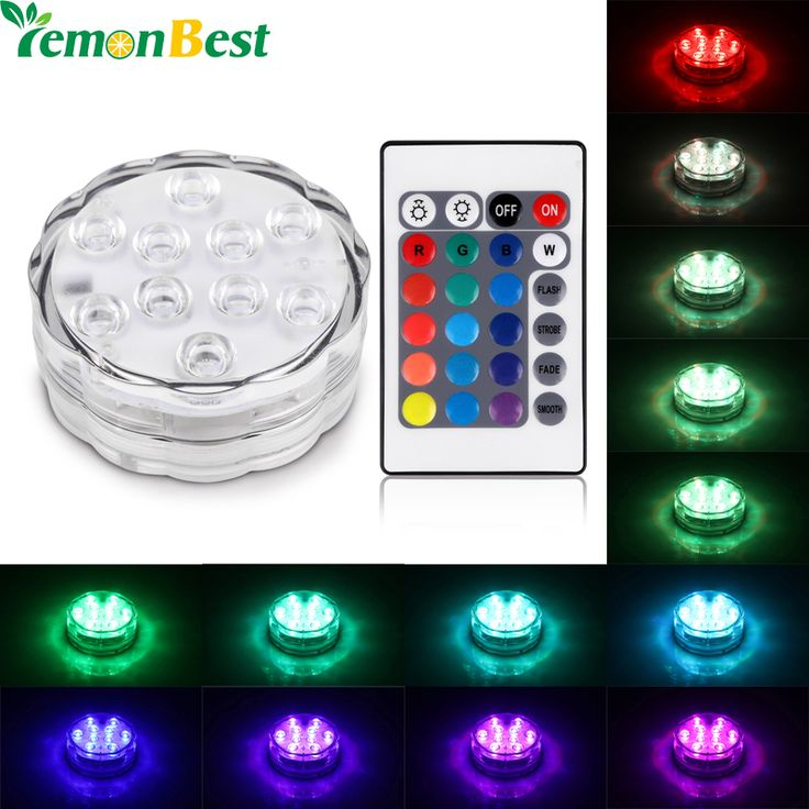 RGB 10 Led Submersible Light Battery Operated IP68 Waterproof Underwater Swimming Pool Wedding Party Piscina Pond Lighting