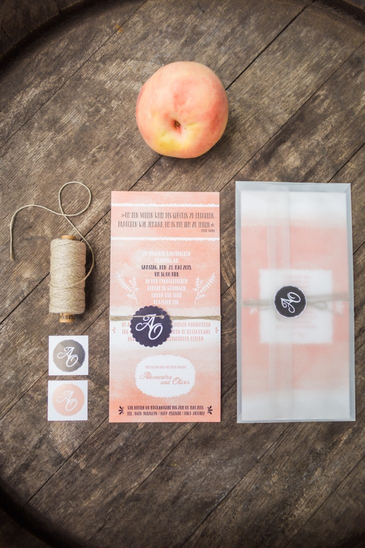 Einladung in Pfirsisch-Apricot