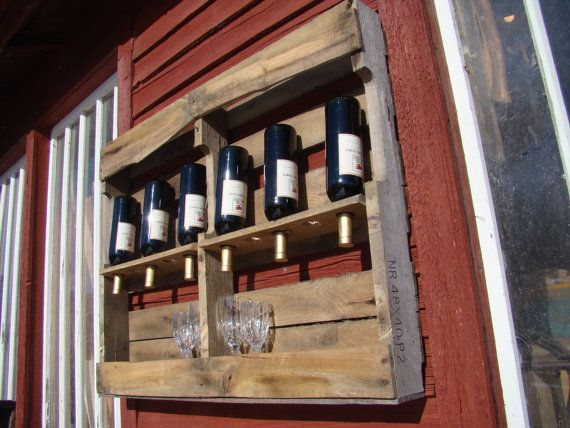 best pallet idea yet. Could also make slits in bottom half to hang wine glasses
