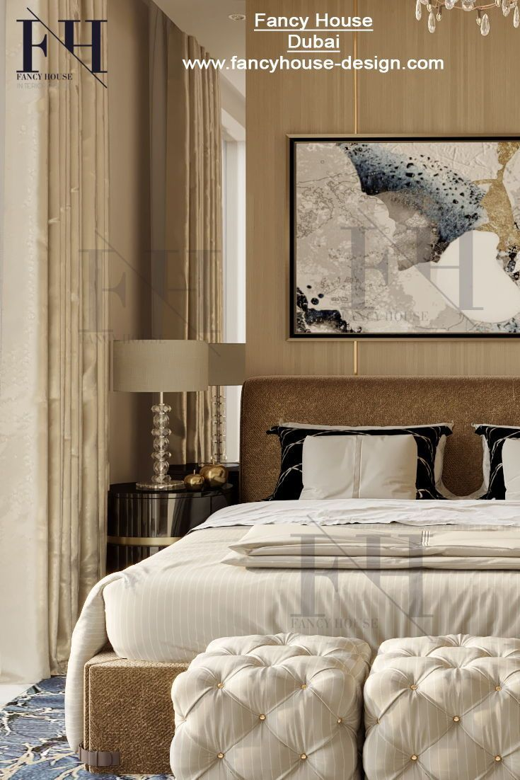 Creative Interior Architecture For A Large Bedroom In Beige Gold
