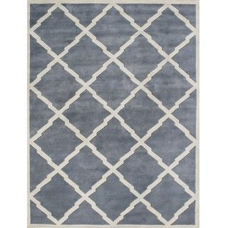 @Overstock.com - Cover your hardwood floors with this fashionable hand-tufted wool area rug. With a blue-gray background and cream-colored geometric accents, this contemporary rug offers your space an eye-catching boost that suits many modern decor schemes with ease.http://www.overstock.com/Home-Garden/Alliyah-Handmade-Bluish-Grey-New-Zeeland-Blend-Wool-Rug-9-x-12/6071117/product.html?CID=219283