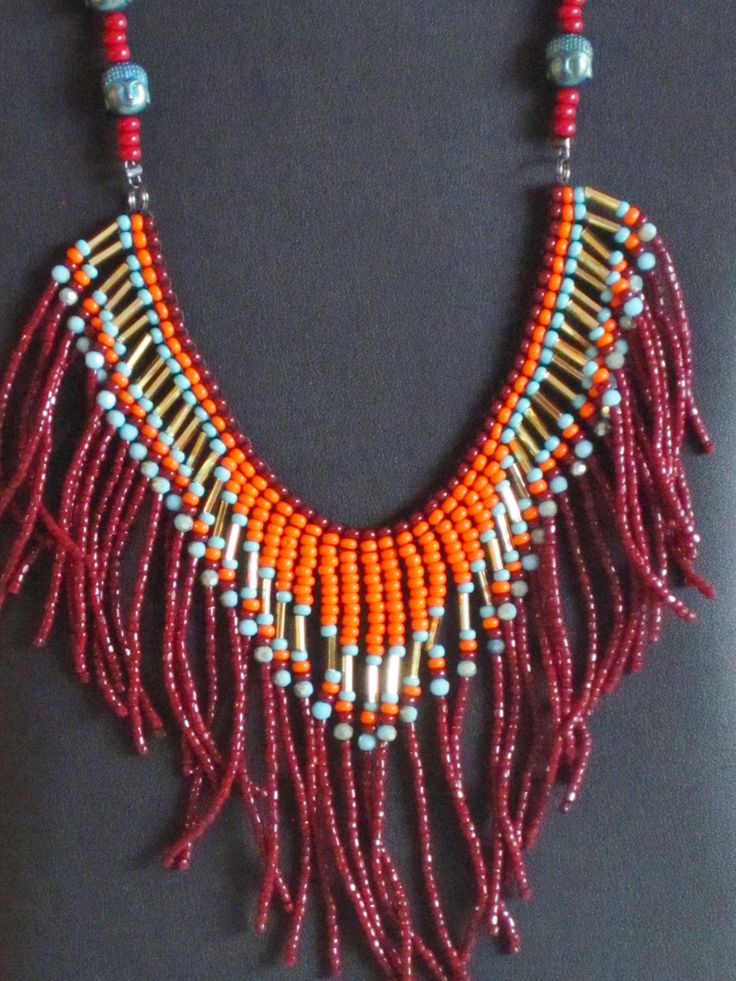 Native American necklace, orange, dark red, turquoise, gold by MontanaTreasuresbyMJ on Etsy