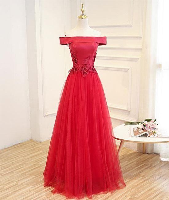 417c6544a6c Elegant Red Applique Off The Shoulder Prom Dress