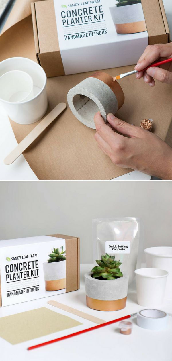 With this kit I can cast my own personalized concrete planter, with a luxe copper painted design. The kit contains the biodegradable pot molds, concrete mix, stirring stick, disposable gloves, paintbrush, copper paint, masking tape, sandpaper, full instructions. Perfect gift idea for DIY and crafts lovers. #ad #concrete #kit #flowerpot #planter #crafts #diy #homedecor #giftidea