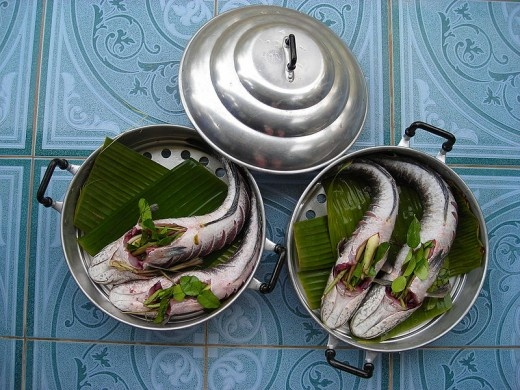 Steamed fish studded with Herbs