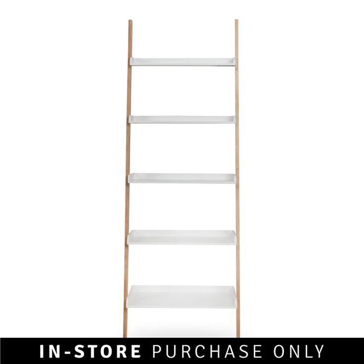 wall leaning bookshelf two tone  H189 x W66 x D35cm  lacquered mdf & solid wood R 1699