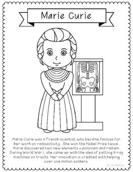 marie curie coloring page craft or poster with biography radiology stem
