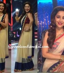 Buy beige Thread work net saree with blouse madhuri-dixit-saree online