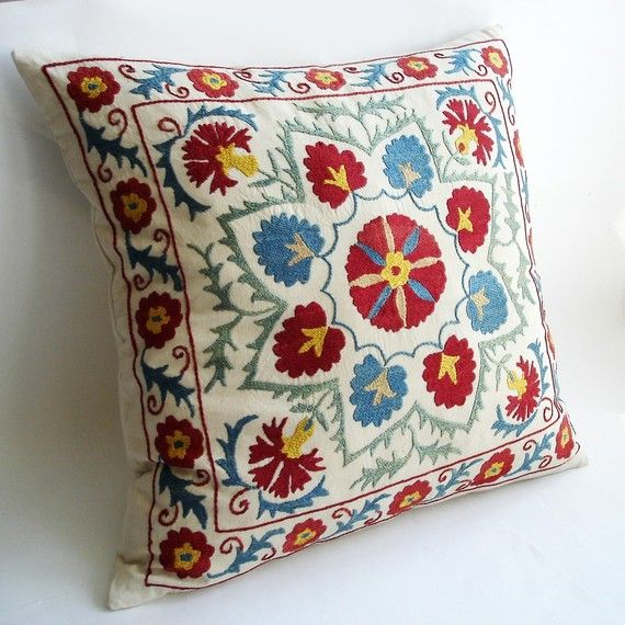 Sukan / Vintage Hand Embroidered Silk Suzani Pillow Cover by sukan