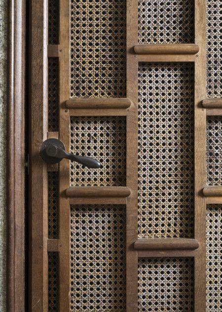 detail of the lutyens-designed lift door at castle drogo