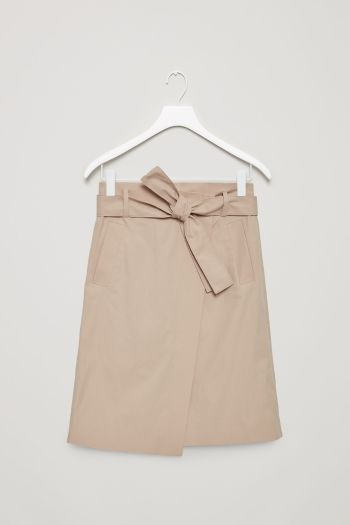 COS image 2 of Belted wrap-over skirt in Khaki Beige