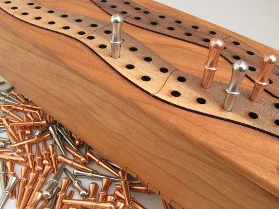 Handcrafted cribbage board | Black Cherry Wood Cribbage Board Box - Free Special Custom Engraved ...