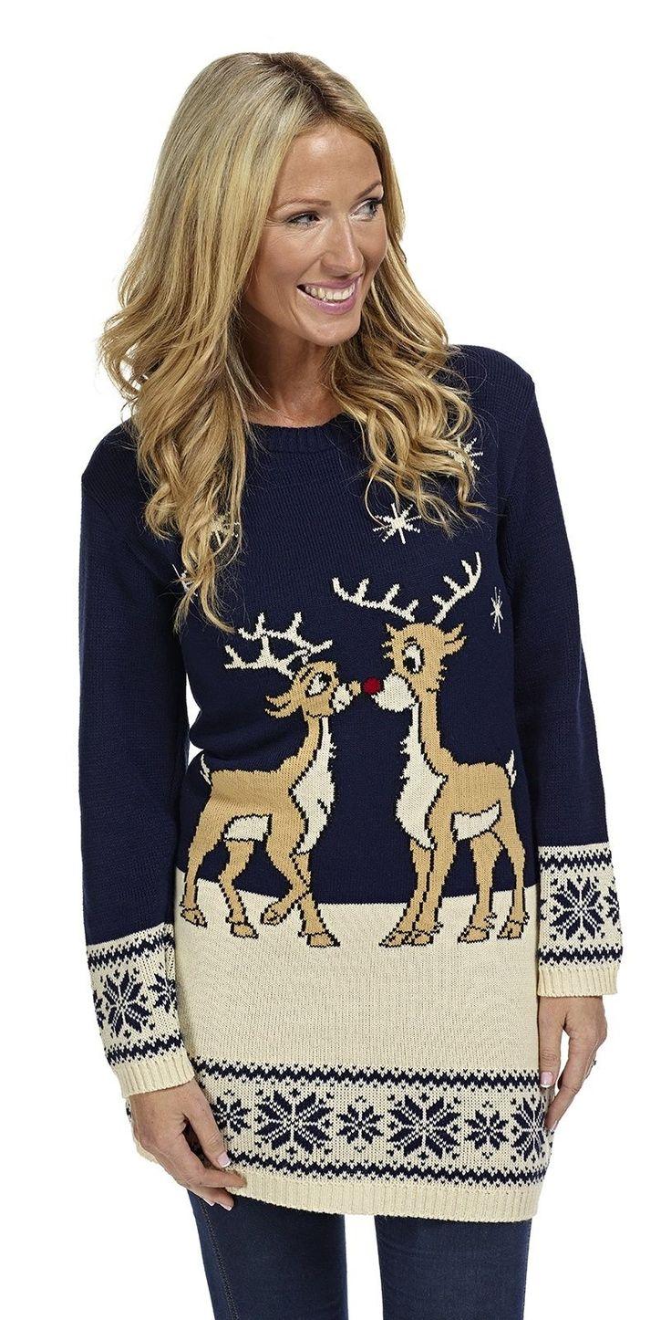 Kersttrui/tuniek 2 rendieren blauw - Kersttrui kopen - Bestel nu uw foute kersttruien online