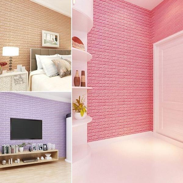 Pack Of 10 58 Sq Ft Blush Pink Peel And Stick 3d Foam Brick Wall Tile Wall Stickers Wallpaper Brick Wall Faux Brick
