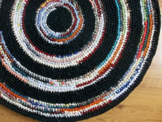Crocheted Rag Rug Black Housewares Cottage Kitchen Cotton Rugs Country Round Upcycled