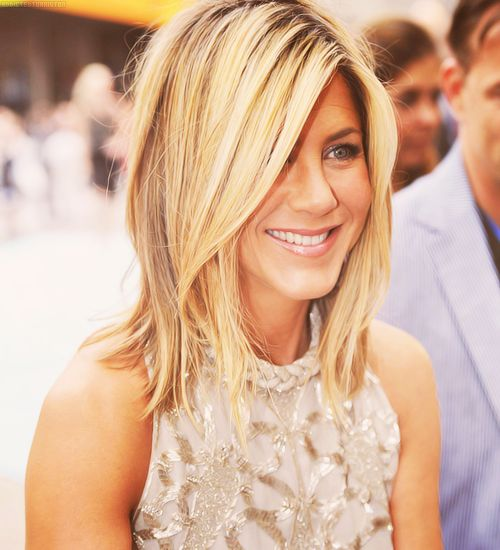 jennifer aniston, hair inspiration-- cut and length, not color. I'd look like a fucking idiot as a blonde.