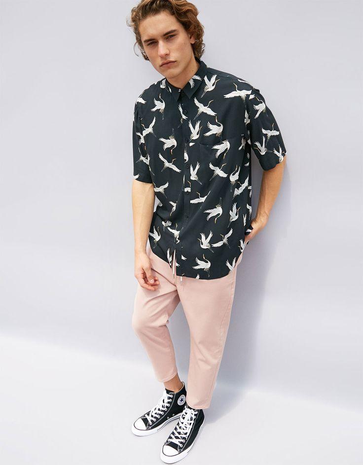 Viscose overhemd met vogelprint - Overhemden - Bershka Netherlands