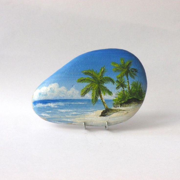 peinture sur galet une plage des seychelles peinture pinterest les seychelles peinture. Black Bedroom Furniture Sets. Home Design Ideas