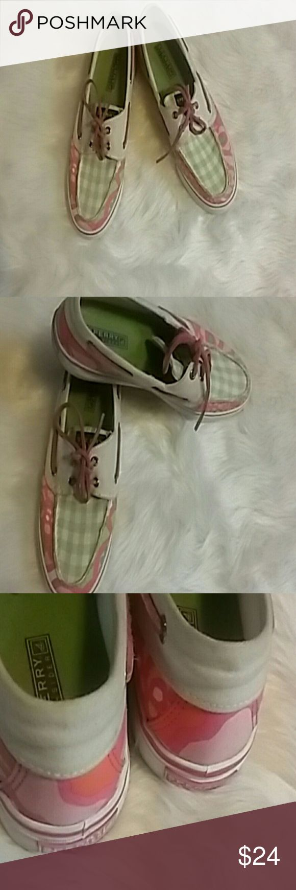 Sperry Top Siders. Multi colored boat shoes. 9 Sperry Top Siders  Multi colored pink green white boat shoes. 9. These are preowned with. Love Sperry Top-Sider Shoes Sneakers