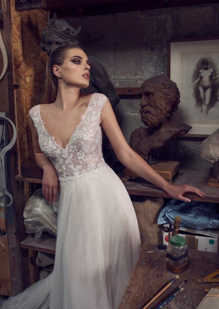 Avital Saporta Wedding Dress v neck wedding dress tool skirt #weddingdress #vneckwedding dress