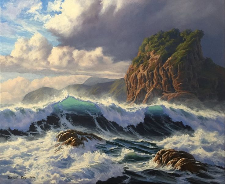 'Piha, Wild Sea'. This seascape based on the wild west coast in northern New Zealand. Piha is located on the coast in West Auckland. Lion rock can be seen in the background of this painting.