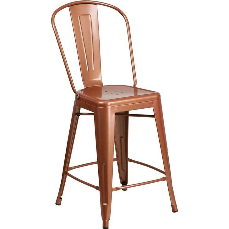 "• Footrest. • Bistro Style Counter Stool. • Cross Brace under seat provides extra stability. • Designed for Indoor and Outdoor Use. • Copper Powder Coat Finish. Color: Copper. • Drain Hole in Seat. Seat Height: 24""H. 