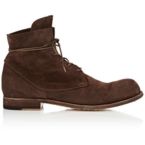 Officine Creative Men's Bubble Suede Boots ($475) ❤ liked on Polyvore featuring men's fashion, men's shoes, men's boots, brown, mens brown suede chelsea boots, mens lace up boots, mens brown boots, mens lace up shoes and mens flats