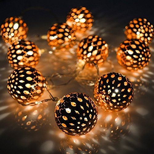 VOLADOR Battery Operated String Lights 56ft 10 LED Copper Moroccan Orb Fairy Lights Festival Ambiance Lighting Christmas Wedding Party Bedroom Dcor Lights -- To view further for this item, visit the image link.
