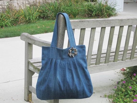 Large Simple Tote Bag in Distressed Denim #sold