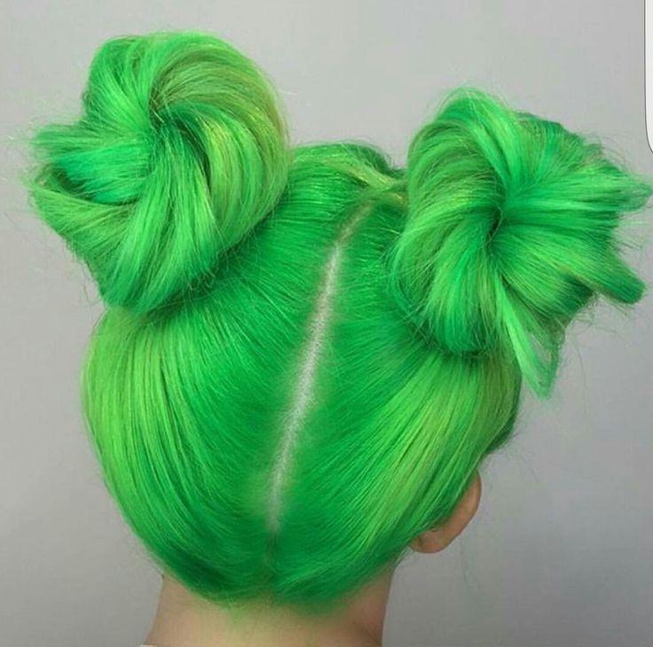 Green buns < neon green hair
