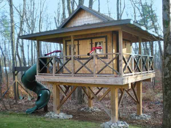 Modeled after fire-spotting towers in the nearby Adirondack Mountains, this dad built his son the ultimate playhouse, complete with an interior loft, a trap-door entry through the floor, a spiral slide exit, two custom-made water cannons, and electric outlets and lighting with cable TV.   thisoldhouse.com