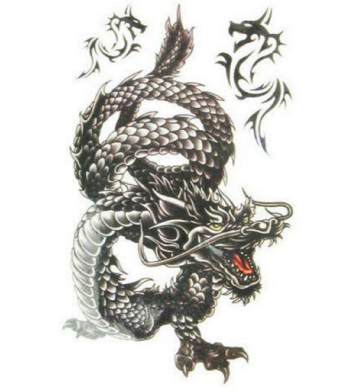Temporary Tattoo Sleeve , Dragon Tattoo, Arm, Sleeve, Black and White Dragon, Fake, Tribal, Large, Asian, Thai, Gangster, Thug, Triad