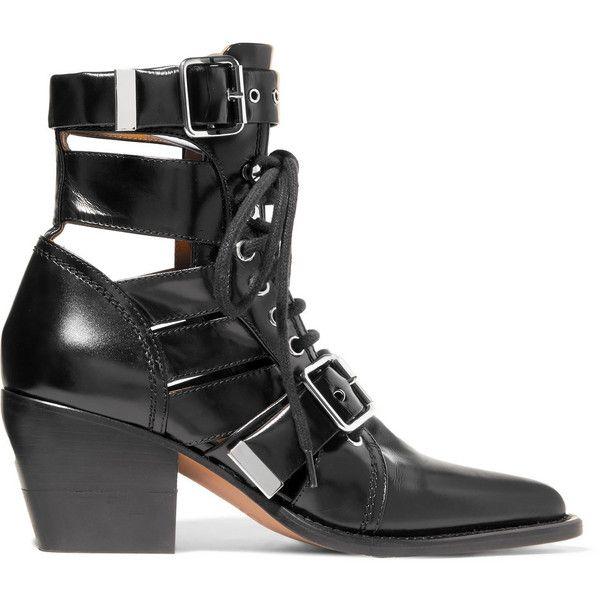 Chloé Bottines en cuir à découpes Rylee via Polyvore featuring shoes, boots and ankle booties