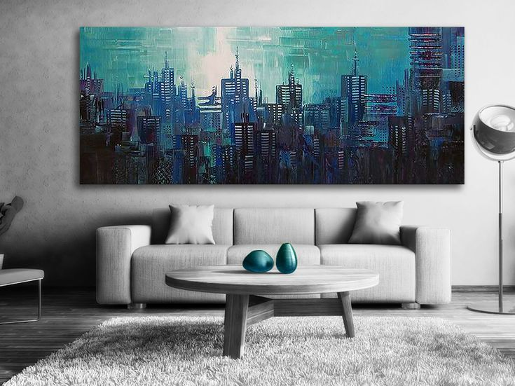 Oljemålningar - #Blue City Tavlan är #målad blåa nyanser. Färgerna smälter läckert in i varandra. En stor #handmålad tavla ger alltid ett mer uttrycksfull intryck.