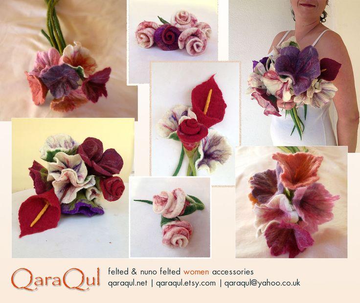 felted wedding bouquet by www.qaraqul.etsy.com