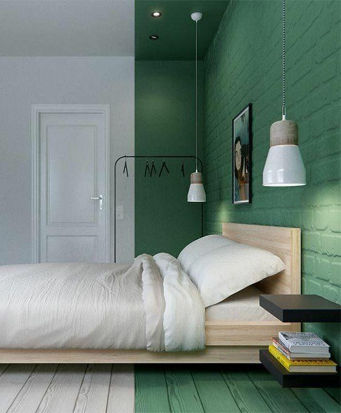 murs en deux couleurs blanc et vert lit deux places conforama - Lit Estrade Conforama