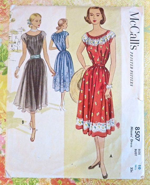 Vintage 1950s Womens Peasant Dress Pattern  McCalls by Fragolina