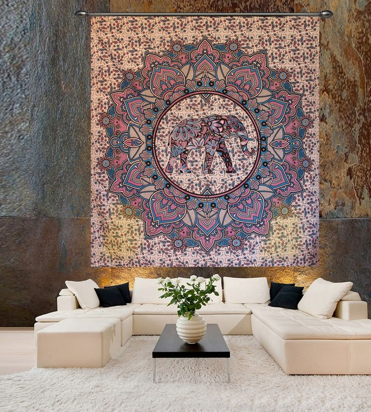 Beautiful blue elephant printed wall hanging hippie tapestry. Perfect for topping a bed, couch, wall or your favorite chair.This Wall Tapestry can also be used as a: - Tapestry or a Wall Hanging, Bedspread, Bed Cover, Table Cloth, Curtain, Dorm Decor, Picnic Sheet Add an ethnic feel to your room with this cotton handmade wall hanging.