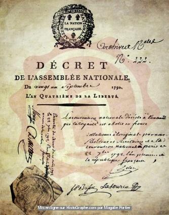 DÉCRET DE L'ASSEMBLÉE NATIONALE ABOLISSANT LA MONARCHIE