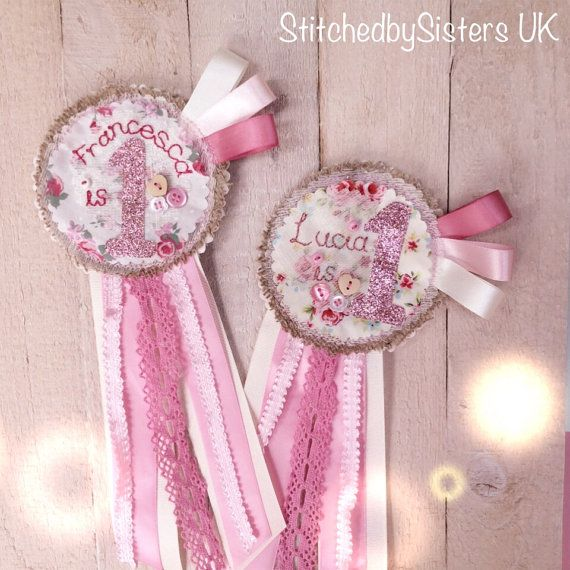 Beautiful handmade personalised vintage inspired birthday rosette badge, Made to order in your colour choice. A 12cm across circle of