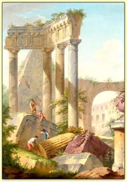 Capriccio architectural avec des tailleurs de pierre travaillant sur des ruines classiques Giovanni Paolo Panini