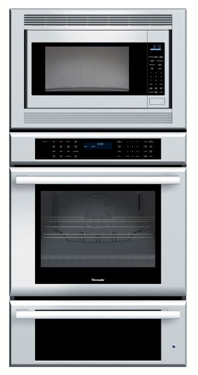 Microwave over single oven with warming drawer...Like this for a space saver