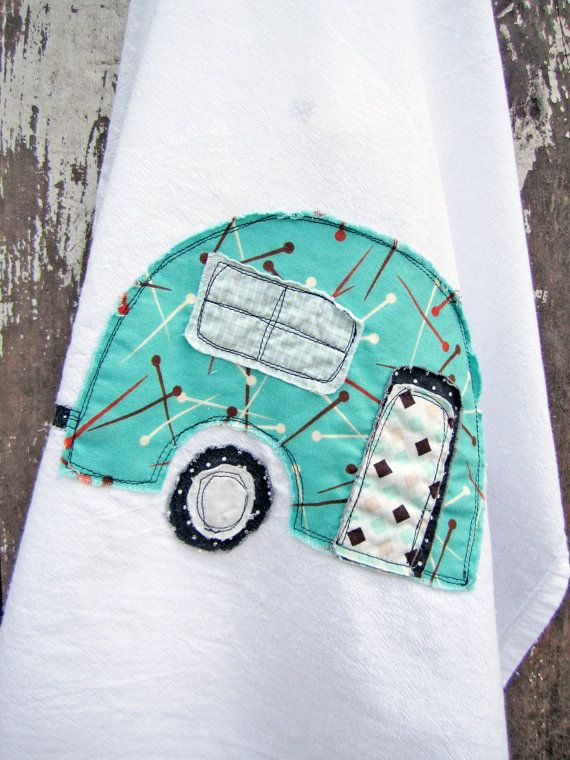 Camper Tea Towel - OMB, it looks like Doodle. Yes, I anthropomorphize my camper; deal with it.