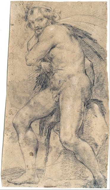 Ludovico Carracci  Figure study for Hercules  1588  drawing  Museum Kunstpalast, Düsseldorf