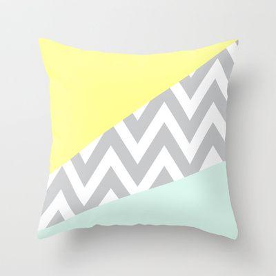 Mint & Yellow Chevron Color Block Throw Pillow #leenbakker